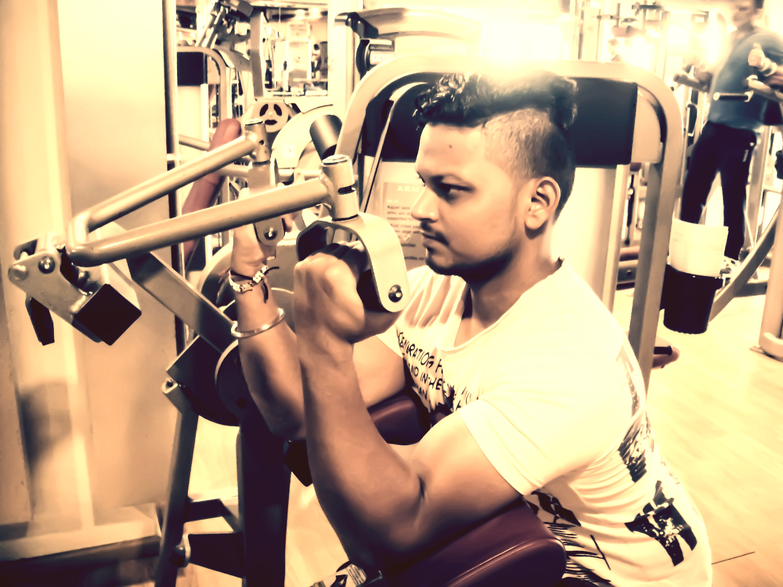 Guy doing weight training