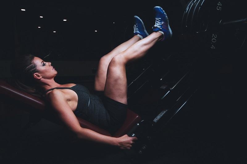Girl doing leg weights