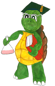 the wise hero tortoise with book in one hand and a beaker with chemical in other hand