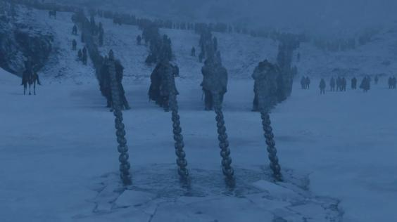 Viserion dragged out of cold water by the Army of Dead