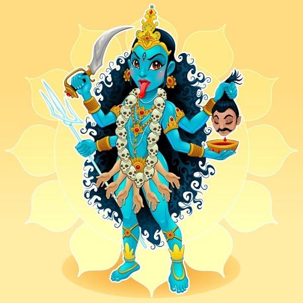 Kali goddess representation of eastern god, vector cartoon illustration.