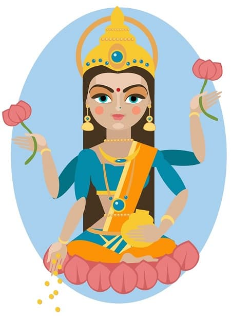 Illustration of Goddess Lakshmi the god of wealth